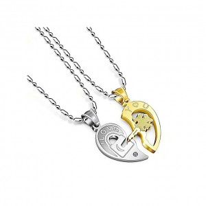 Fashion Heart Pendant Puzzle Titanium Steel Couple Necklace