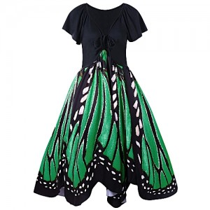 Fashion Plus Size Butterfly Print Swing Dress - GREEN