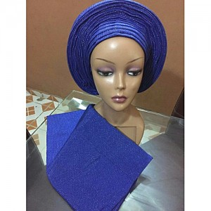 Fashion Elegant Auto Gele In Royal Blue With Silver Touch