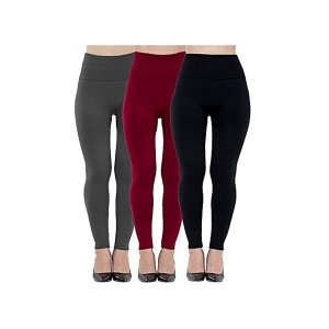 Fashion 3 In 1 High Waist Fleece Lined Seamless Ankle Leggings
