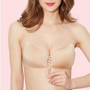 Fashion Lace-up Self Adhesive Strapless Bra - Beige