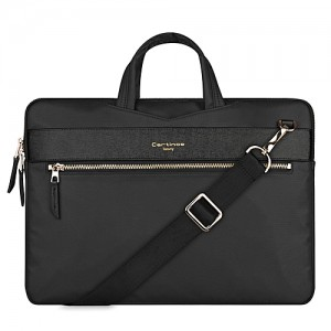 Generic 13.3 Inch Cartinoe Fashion London Style Exquisite Zipper Portable Handheld Nylon+PU Laptop Bag With Removable Shoulder Strap ForBook, Lenovo And Other Laptops, Internal Size:36.0x25.0x2.5cm(Black)